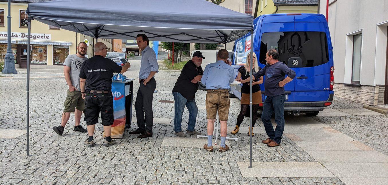 Wahlkampfstand in Bad Brambach
